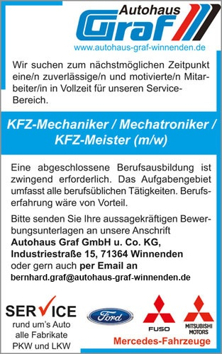 KFZ-Mechaniker Stellenangebot