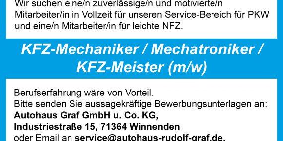 Stellenanzeige KFZ Mechaniker / Mechatroniker